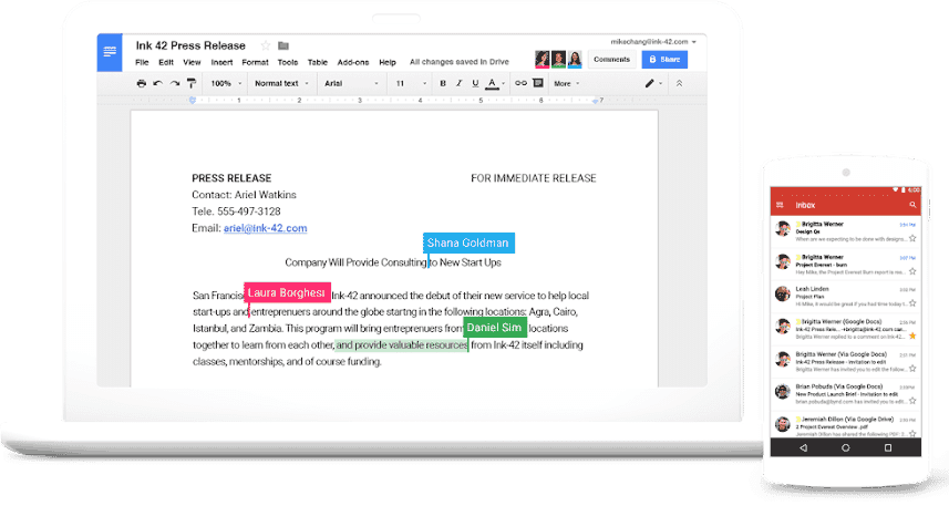 Google GSuite screenshot