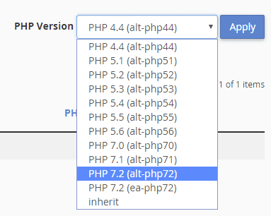 Choose your PHP version per website or Folder
