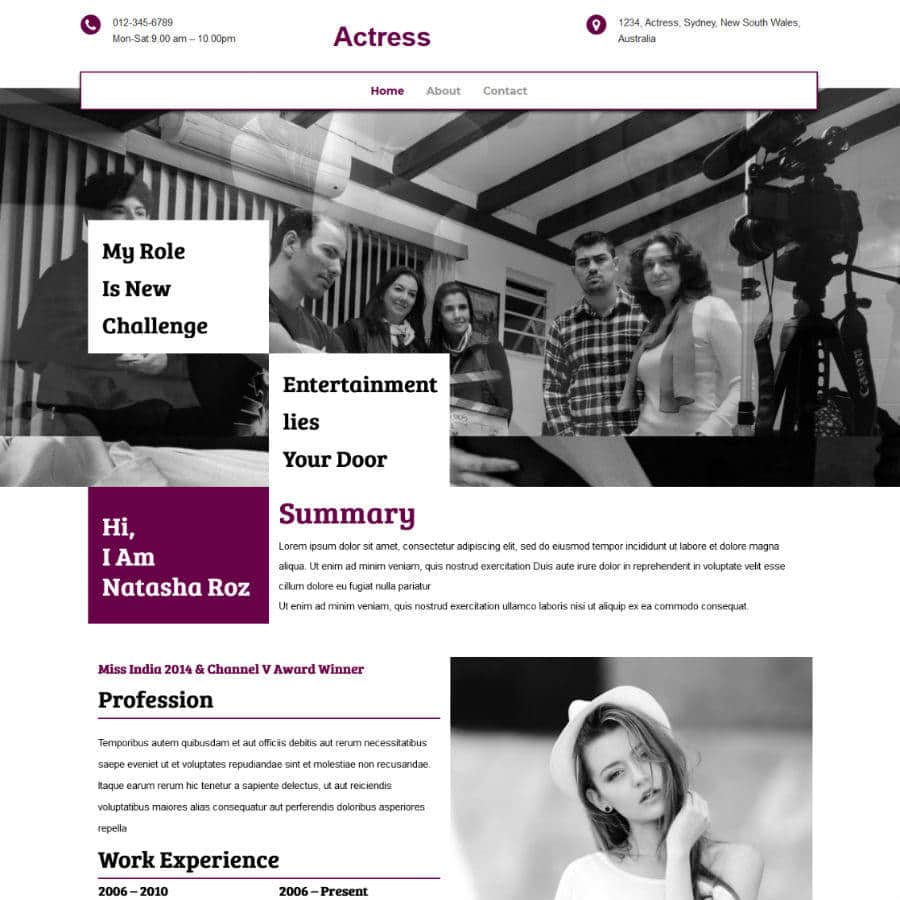 Free Online Website Editor example Actress