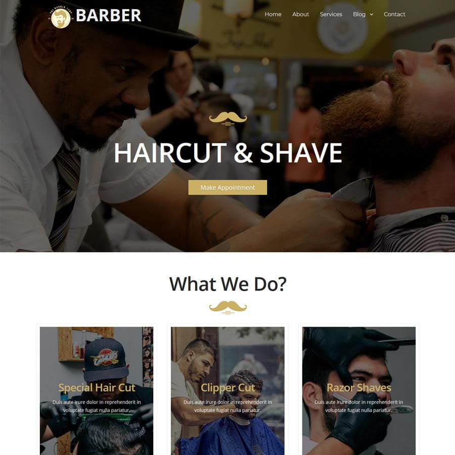 Free Online Website Editor example Barber