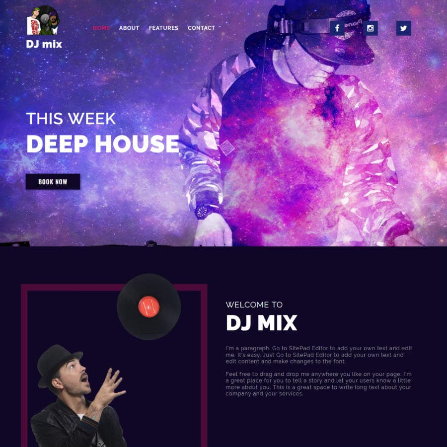 Free Online Website Editor example DJ