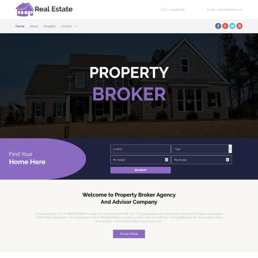 Free Online Website Editor example Realtor